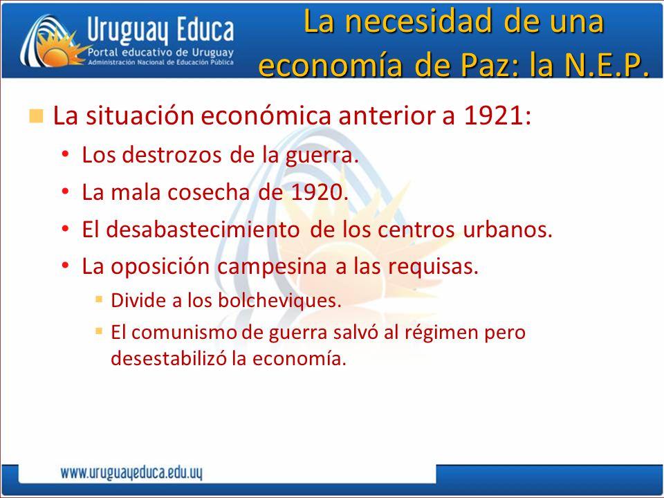 La necesidad de una economía de Paz: la N.E.P. La situación económica anterior a 1921: Los destrozos de la guerra. La mala cosecha de 1920. El desabas