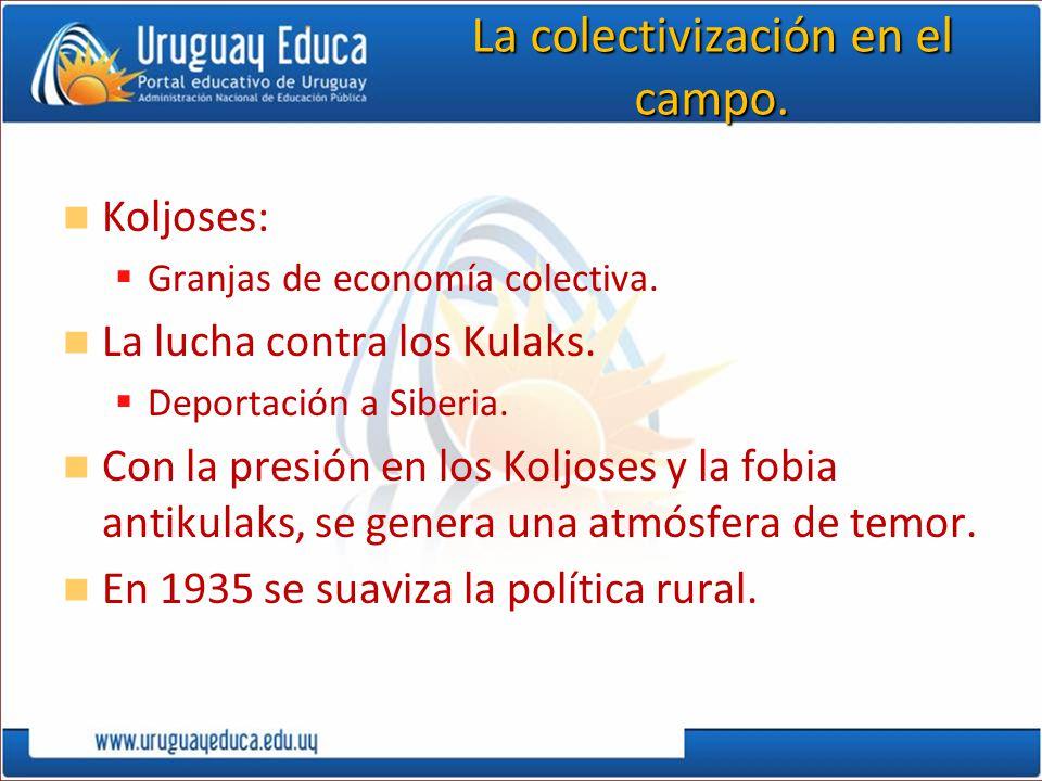 La colectivización en el campo. Koljoses: Granjas de economía colectiva. La lucha contra los Kulaks. Deportación a Siberia. Con la presión en los Kolj