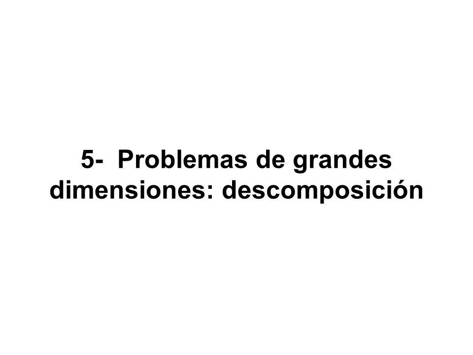 Métodos de descomposición: permiten la resolución de problemas de gran tamaño con una estructura especial mediante la solución iterativa de otros problemas de menor tamaño Existen varias técnicas de descomposición: - descomposición de Benders o de variables - descomposición de Dantzing-Wolfe o de restricciones - descomposición primal-dual - descomposición anidada Estructura: problemas bietapa y multietapa.