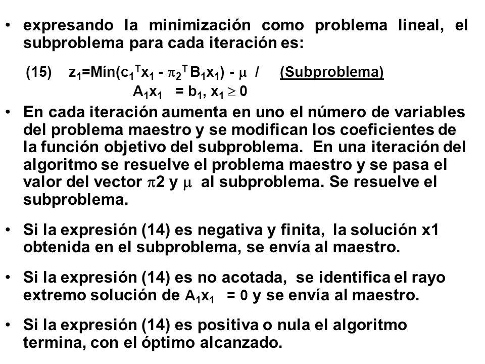 expresando la minimización como problema lineal, el subproblema para cada iteración es: (15) z 1 =Mín(c 1 T x 1 - 2 T B 1 x 1 ) - / (Subproblema) A 1