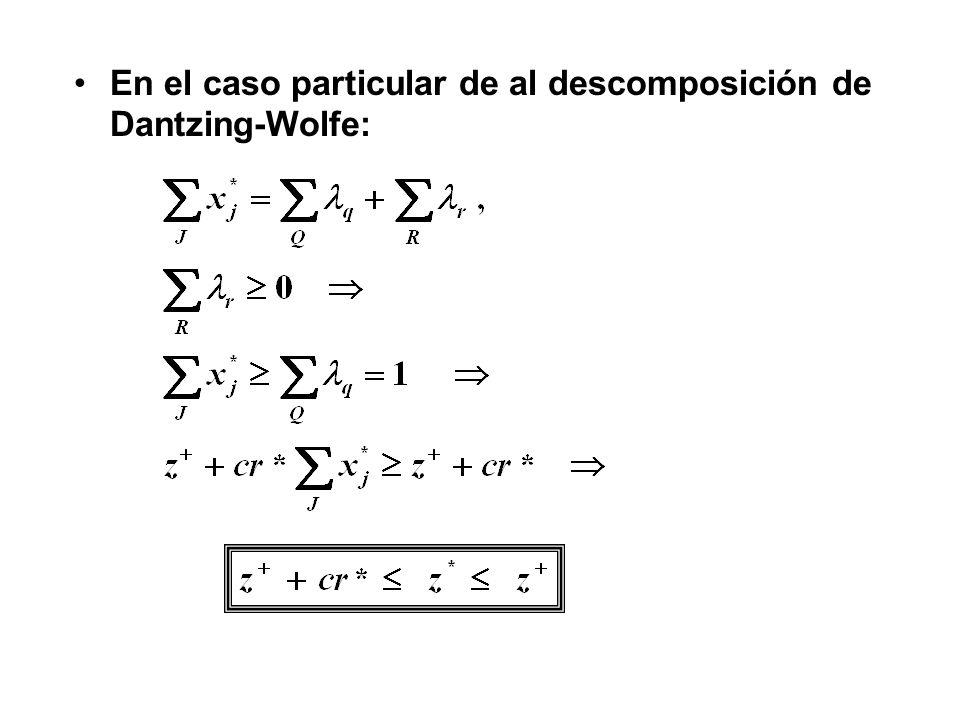 En el caso particular de al descomposición de Dantzing-Wolfe: