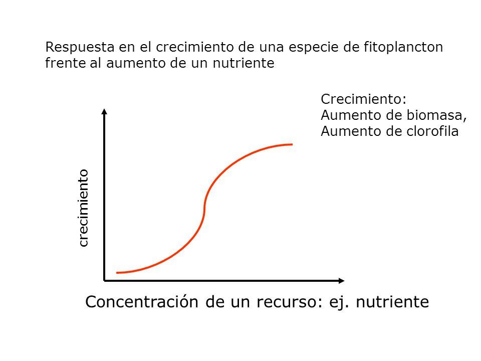 crecimiento Concentración de un recurso: ej. nutriente Respuesta en el crecimiento de una especie de fitoplancton frente al aumento de un nutriente Cr