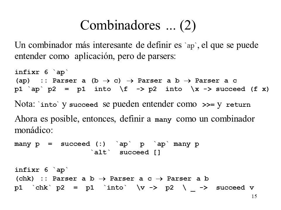 15 Combinadores...