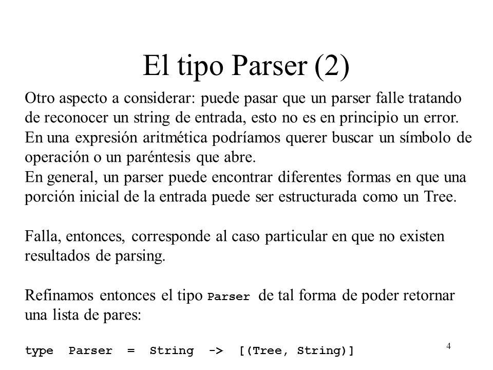 4 El tipo Parser (2) Otro aspecto a considerar: puede pasar que un parser falle tratando de reconocer un string de entrada, esto no es en principio un error.