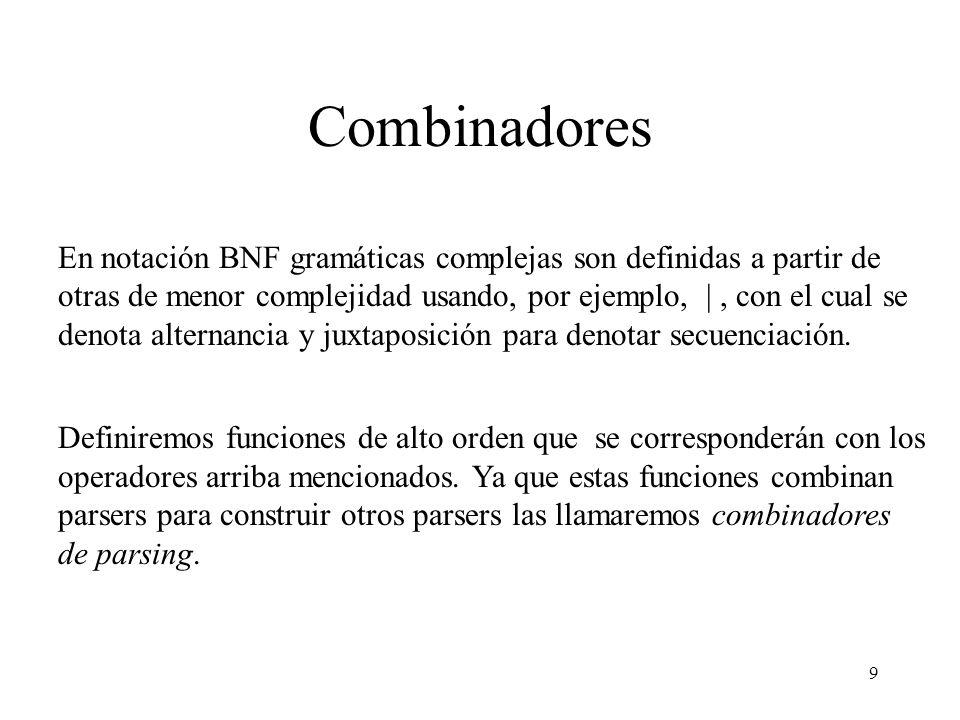9 Combinadores En notación BNF gramáticas complejas son definidas a partir de otras de menor complejidad usando, por ejemplo, |, con el cual se denota alternancia y juxtaposición para denotar secuenciación.