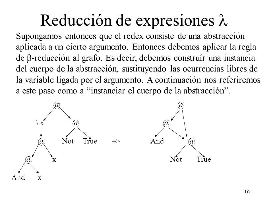 15 Reducción de expresiones Hemos visto como buscar el redex a evaluar en cada paso de la reducción. Ahora veremos cómo efectuar una reducción. Esto s