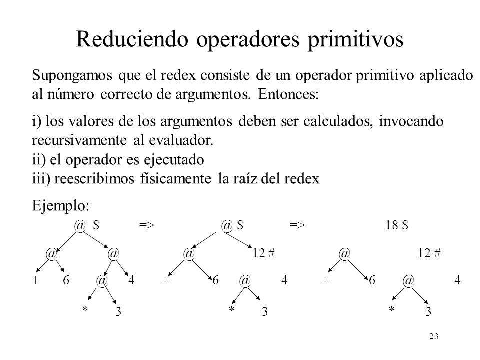 22 Evaluación perezosa Hemos visto que evaluación perezosa tiene dos ingredeientes principales: i) Argumentos de funciones deben ser evaluados sólo cu