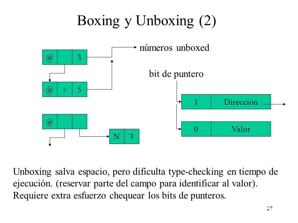 26 Boxing y Unboxing Que un número ocupe una celda cuando con un campo se podría representar ese mismo número parece ser un gasto de espacio. (Ejemplo