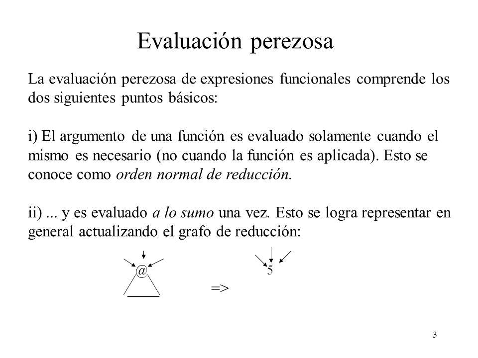 3 Evaluación perezosa La evaluación perezosa de expresiones funcionales comprende los dos siguientes puntos básicos: i) El argumento de una función es evaluado solamente cuando el mismo es necesario (no cuando la función es aplicada).
