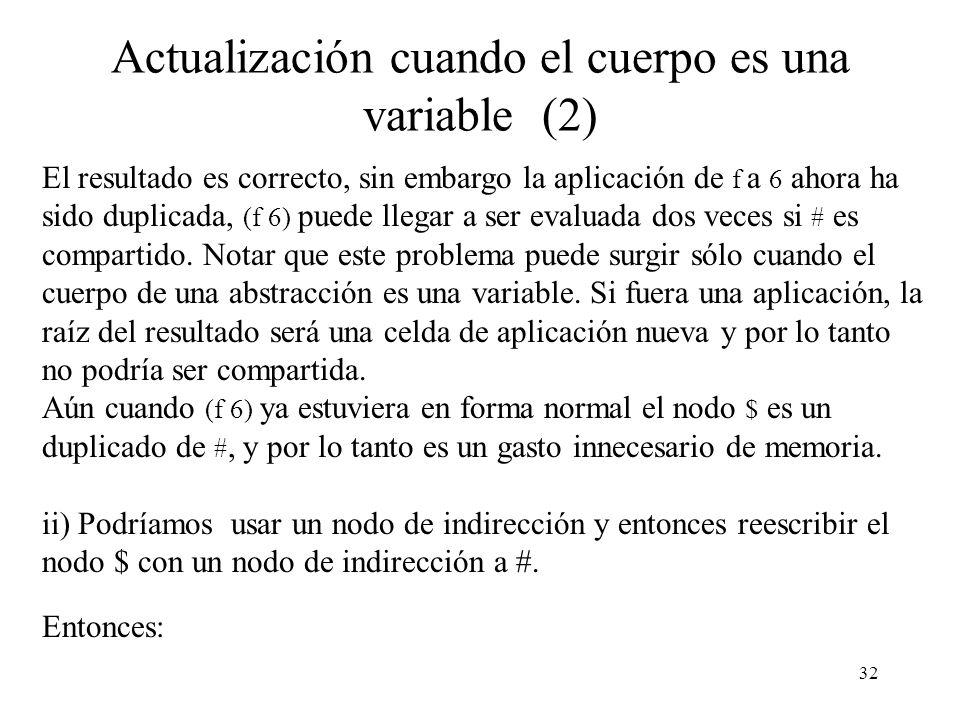 31 Actualización cuando el cuerpo es una variable Consideremos el ejemplo visto @ $ \ x @ x f 6 Hay dos formas posibles de actualizar la raíz del rede