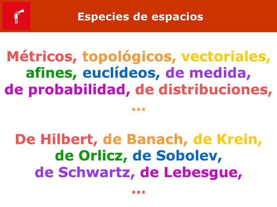 Especies de espacios Métricos, topológicos, vectoriales, afines, euclídeos, de medida, de probabilidad, de distribuciones,... De Hilbert, de Banach, d