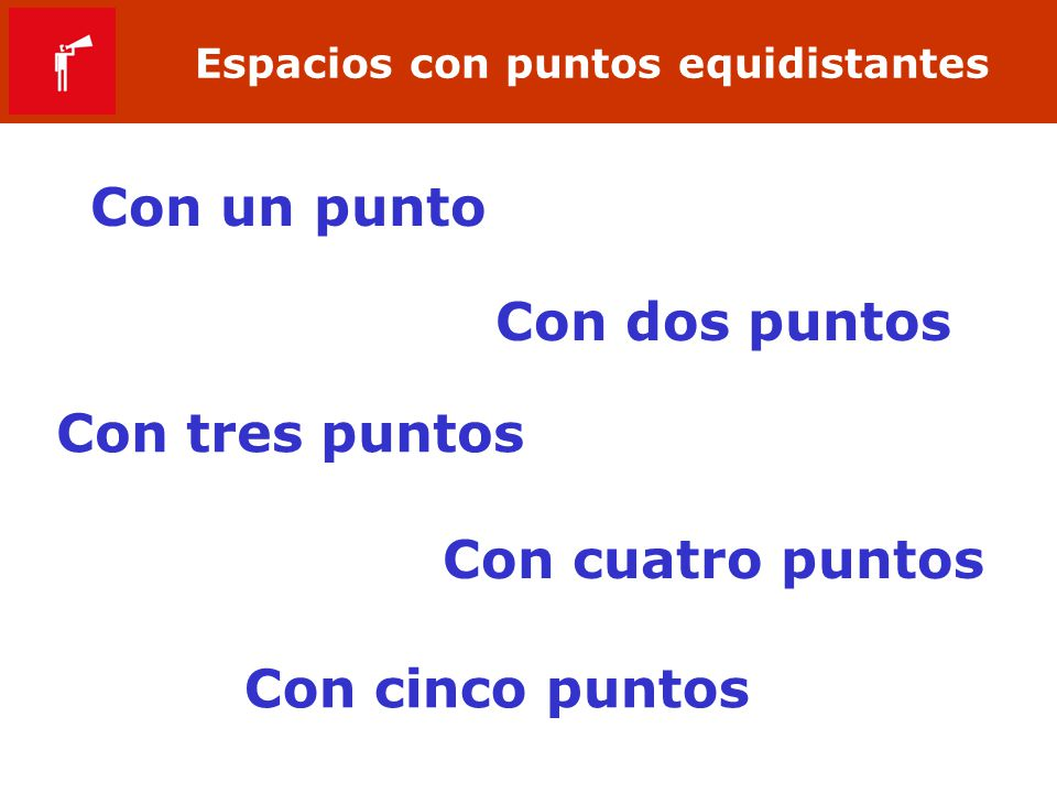 Espacios con puntos equidistantes Con un punto Con dos puntos Con tres puntos Con cuatro puntos Con cinco puntos