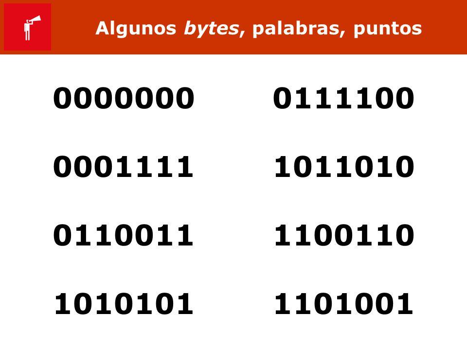 Algunos bytes, palabras, puntos 0000000 0111100 0001111 1011010 0110011 1100110 1010101 1101001