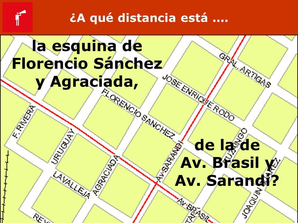 ¿A qué distancia está.... de la de Av. Brasil y Av. Sarandí? la esquina de Florencio Sánchez y Agraciada,