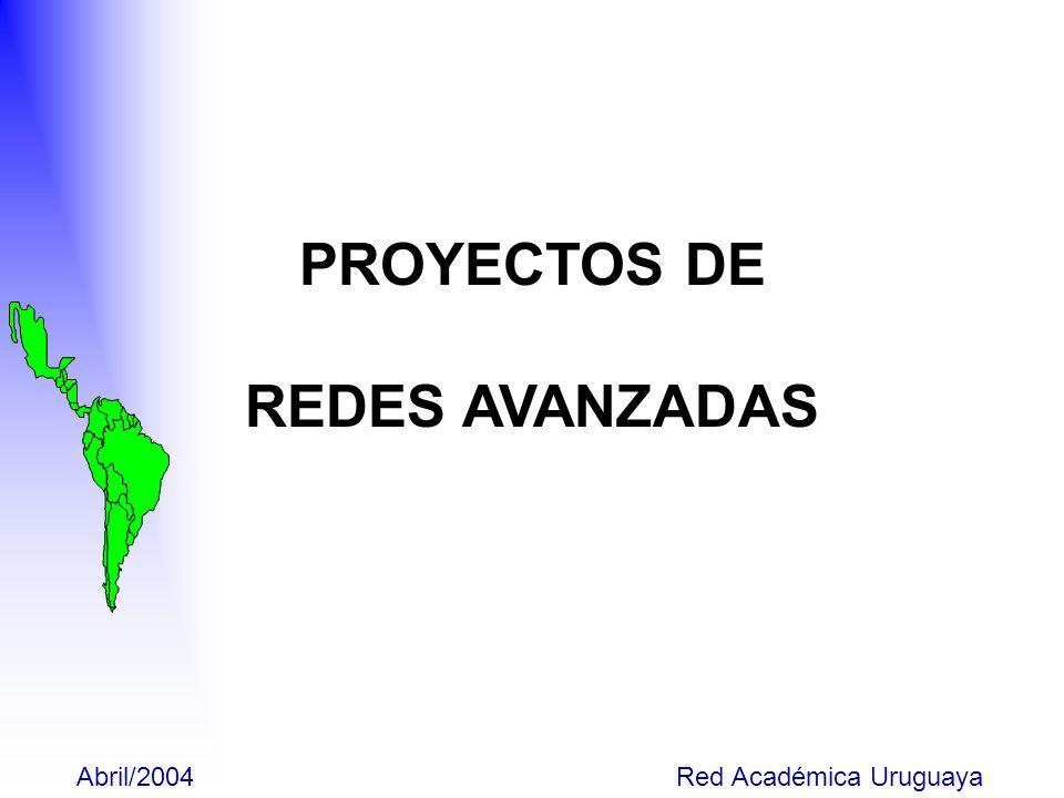 Abril/2004 Red Académica Uruguaya Proyecto CLARA-ALICE Argentina (54) Brasil (382) Bolivia (6) Chile (14) Colombia (43) Costa Rica (-) Cuba (21) Ecuador (9) El Salvador (7) Honduras (-) Guatemala (10) México(69) Nicaragua (-) Panamá (10) Paraguay (28) Perú (11) Rep.