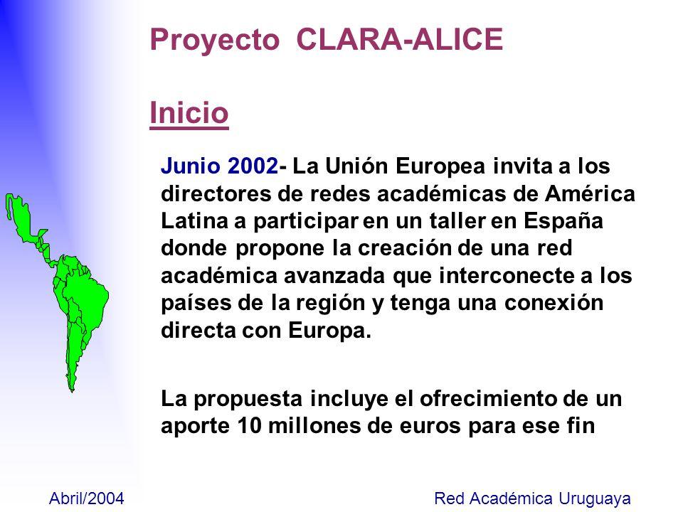 Julio - Las redes académicas de LAC convienen en formar CLARA (Cooperación Latinoamericana de Redes Avanzadas) y se inicia redacción de estatutos Octubre – Reunión de las redes latinoamericanas en Río para acordar plan de acción y discutir los estatutos.