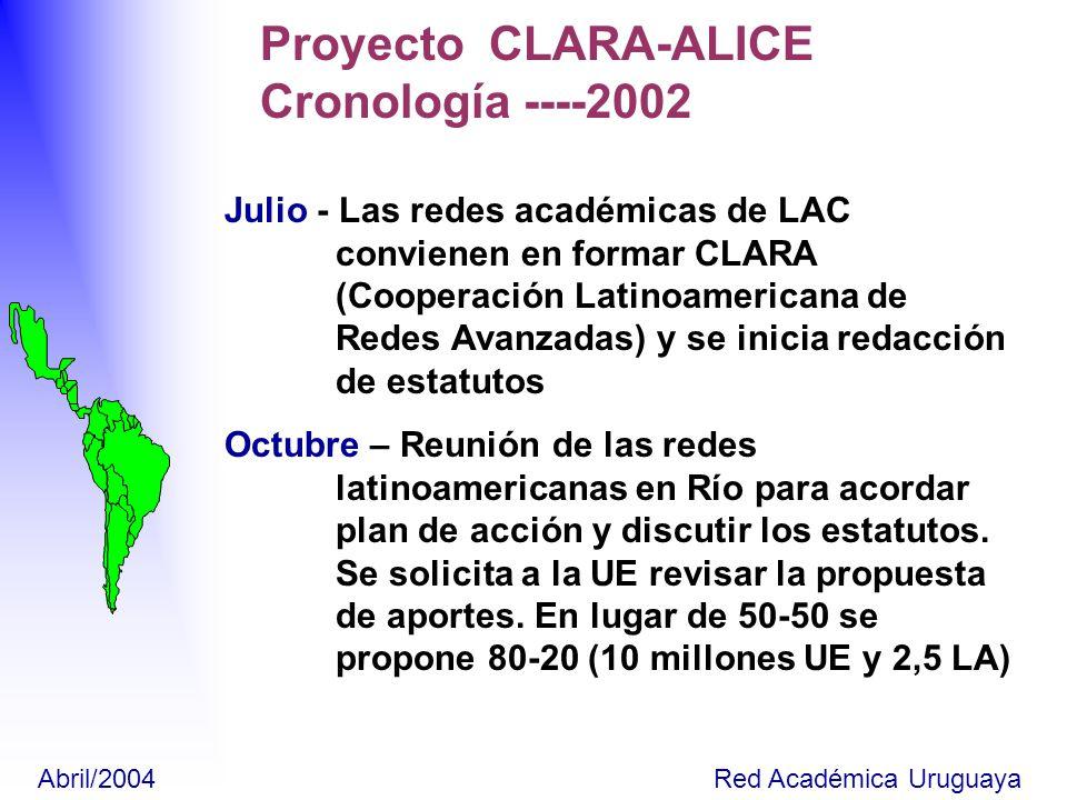 Noviembre- Reunión en Santiago para acordar actividades de Fase A del proyecto (denominado por la UE ALICE).