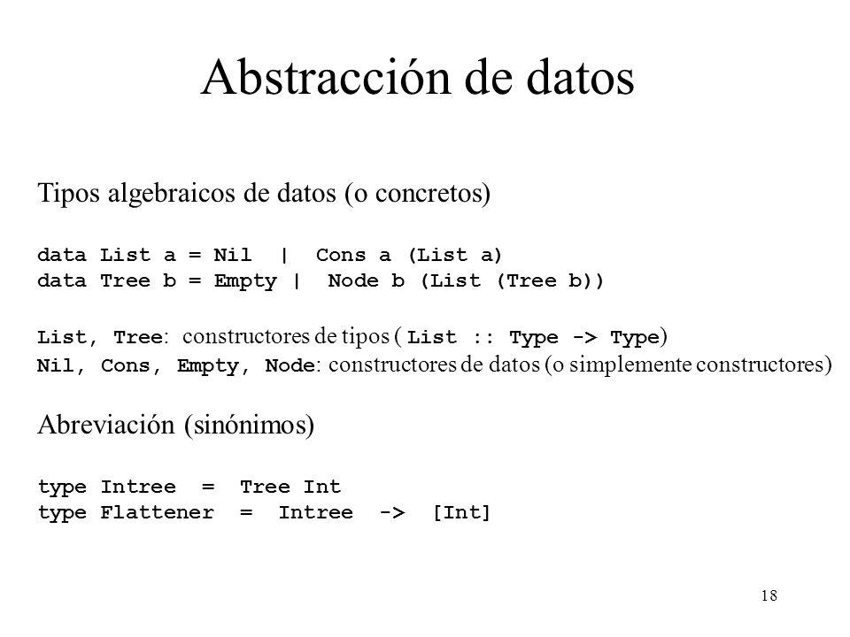 18 Abstracción de datos Tipos algebraicos de datos (o concretos) data List a = Nil | Cons a (List a) data Tree b = Empty | Node b (List (Tree b)) List, Tree : constructores de tipos ( List :: Type -> Type ) Nil, Cons, Empty, Node : constructores de datos (o simplemente constructores) Abreviación (sinónimos) type Intree = Tree Int type Flattener = Intree -> [Int]