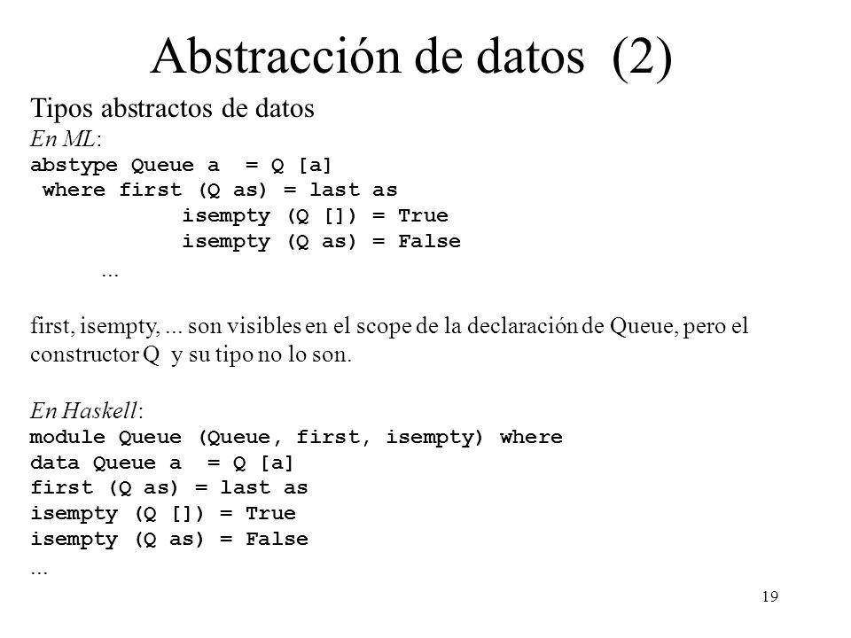 19 Abstracción de datos (2) Tipos abstractos de datos En ML: abstype Queue a = Q [a] where first (Q as) = last as isempty (Q []) = True isempty (Q as)