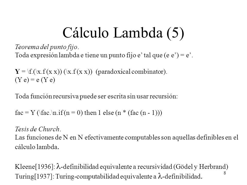 8 Cálculo Lambda (5) Teorema del punto fijo.