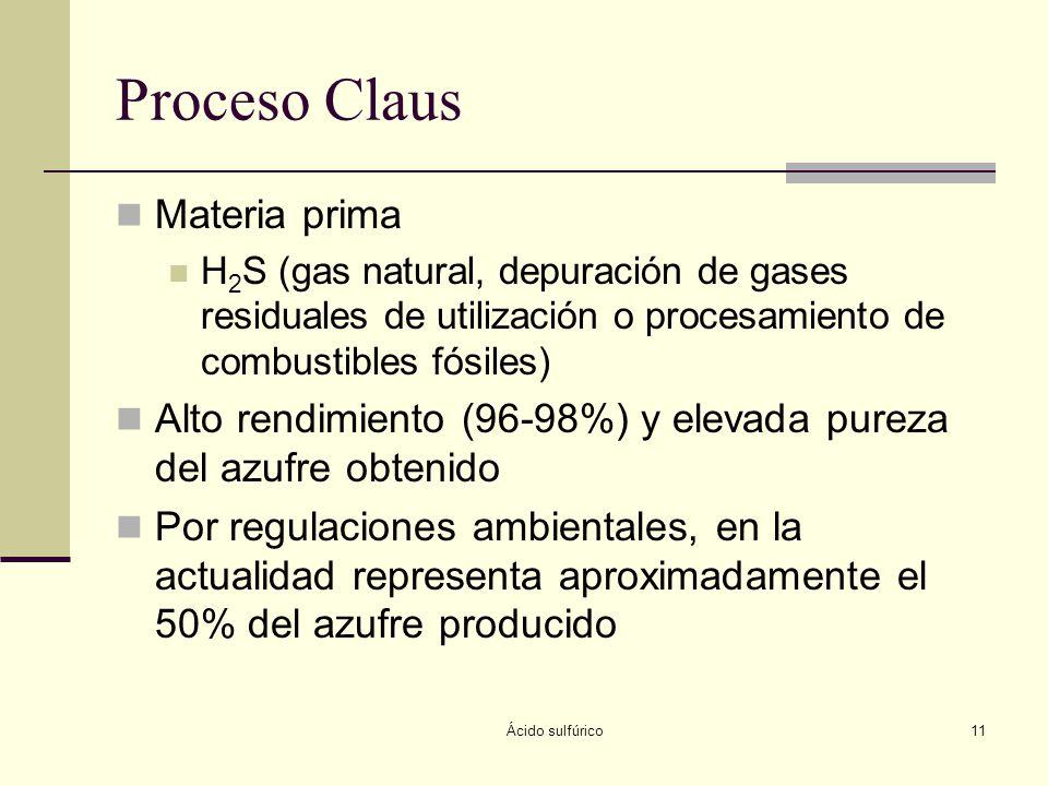 Ácido sulfúrico11 Proceso Claus Materia prima H 2 S (gas natural, depuración de gases residuales de utilización o procesamiento de combustibles fósile