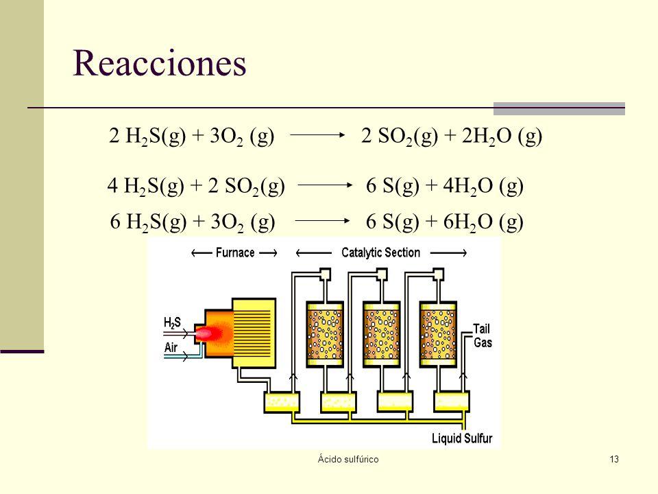 Ácido sulfúrico13 Reacciones 2 H 2 S(g) + 3O 2 (g)2 SO 2 (g) + 2H 2 O (g) 4 H 2 S(g) + 2 SO 2 (g) 6 S(g) + 4H 2 O (g) 6 H 2 S(g) + 3O 2 (g)6 S(g) + 6H
