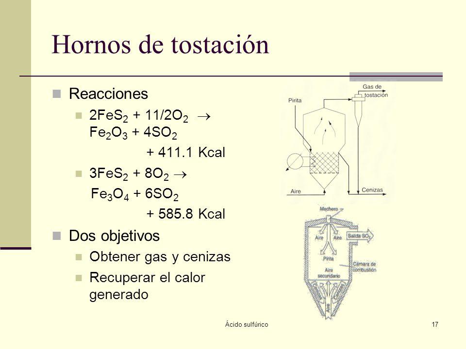 Ácido sulfúrico17 Hornos de tostación Reacciones 2FeS 2 + 11/2O 2 Fe 2 O 3 + 4SO 2 + 411.1 Kcal 3FeS 2 + 8O 2 Fe 3 O 4 + 6SO 2 + 585.8 Kcal Dos objeti