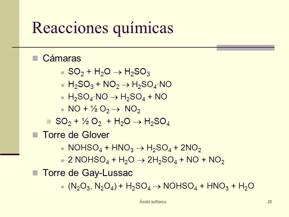 Ácido sulfúrico20 Reacciones químicas Cámaras SO 2 + H 2 O H 2 SO 3 H 2 SO 3 + NO 2 H 2 SO 4 ·NO H 2 SO 4 ·NO H 2 SO 4 + NO NO + ½ O 2 NO 2 SO 2 + ½ O