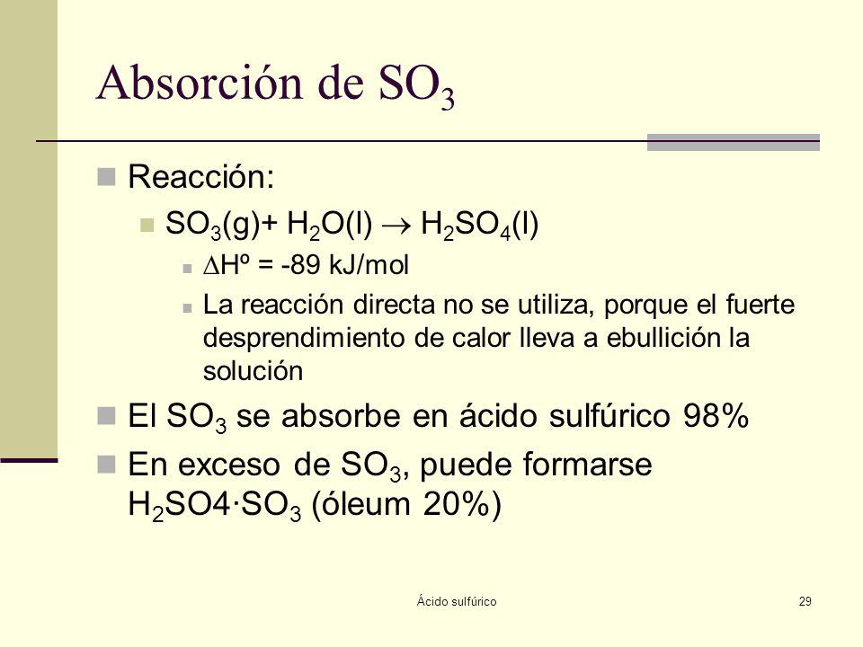 Ácido sulfúrico29 Absorción de SO 3 Reacción: SO 3 (g)+ H 2 O(l) H 2 SO 4 (l) Hº = -89 kJ/mol La reacción directa no se utiliza, porque el fuerte desp