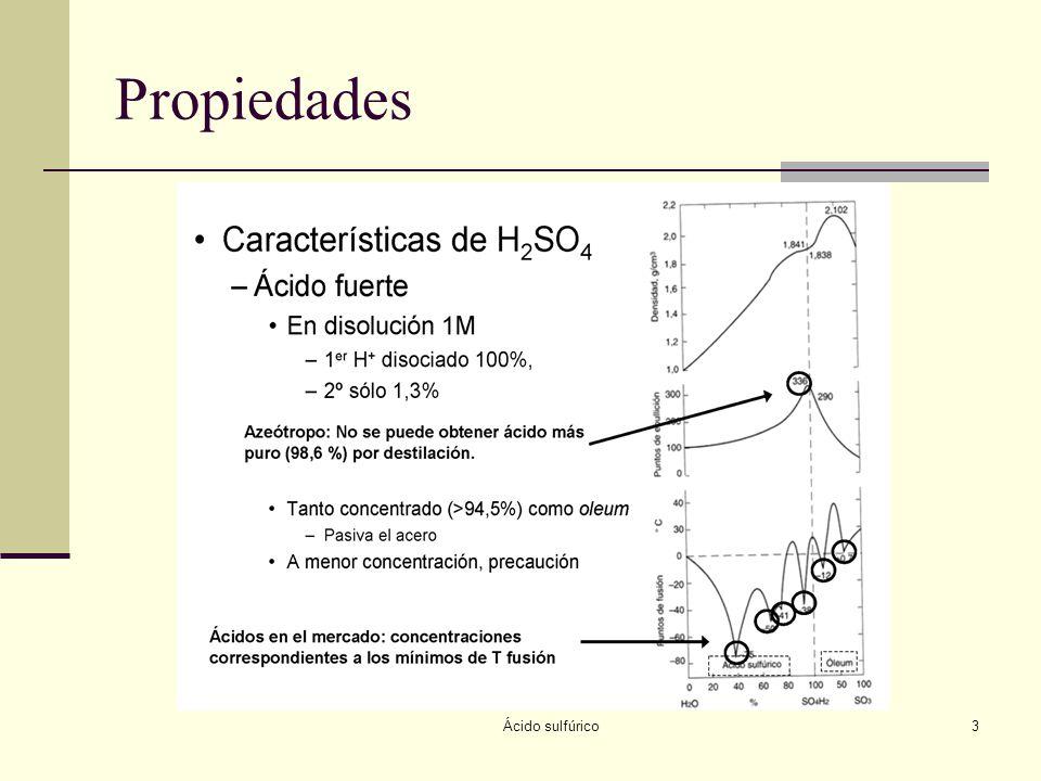 Ácido sulfúrico4 Propiedades químicas Ácido H 2 SO 4 (ac) HSO 4 - (ac) SO 4 2- (ac) Oxidante Cu + H 2 SO 4 CuSO 4 + SO 2 + H 2 O Deshidratante C 11 H 22 O 11 (s) + H 2 SO 4 (l) C(s) + H 2 O + H 2 SO 4 (ac) Sulfonante CH 3 C 6 H 5 (l) + H 2 SO 4 (l) CH 3 C 6 H 4 SO 3 H + H 2 O