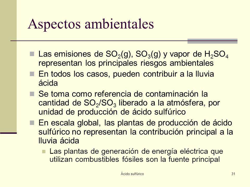 Ácido sulfúrico31 Aspectos ambientales Las emisiones de SO 2 (g), SO 3 (g) y vapor de H 2 SO 4 representan los principales riesgos ambientales En todo