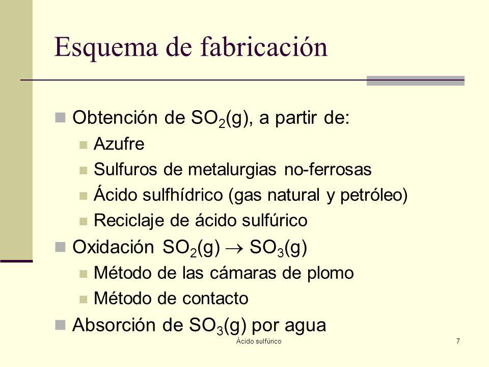 Ácido sulfúrico8 Azufre Estado natural Elemental (4%) Depósitos sedimentarios y volcánicos Combinado Sulfuros metálicos (4%) Combustibles fósiles (87%) Gas natural (5%) Sulfatos (yeso) Propiedades Sólido amarillo pálido, con varias formas alotrópicas Temperatura de fusión: 112-114ºC Viscosidad alta a temperaturas menores de 160ºC Abundancia en corteza 0.05%