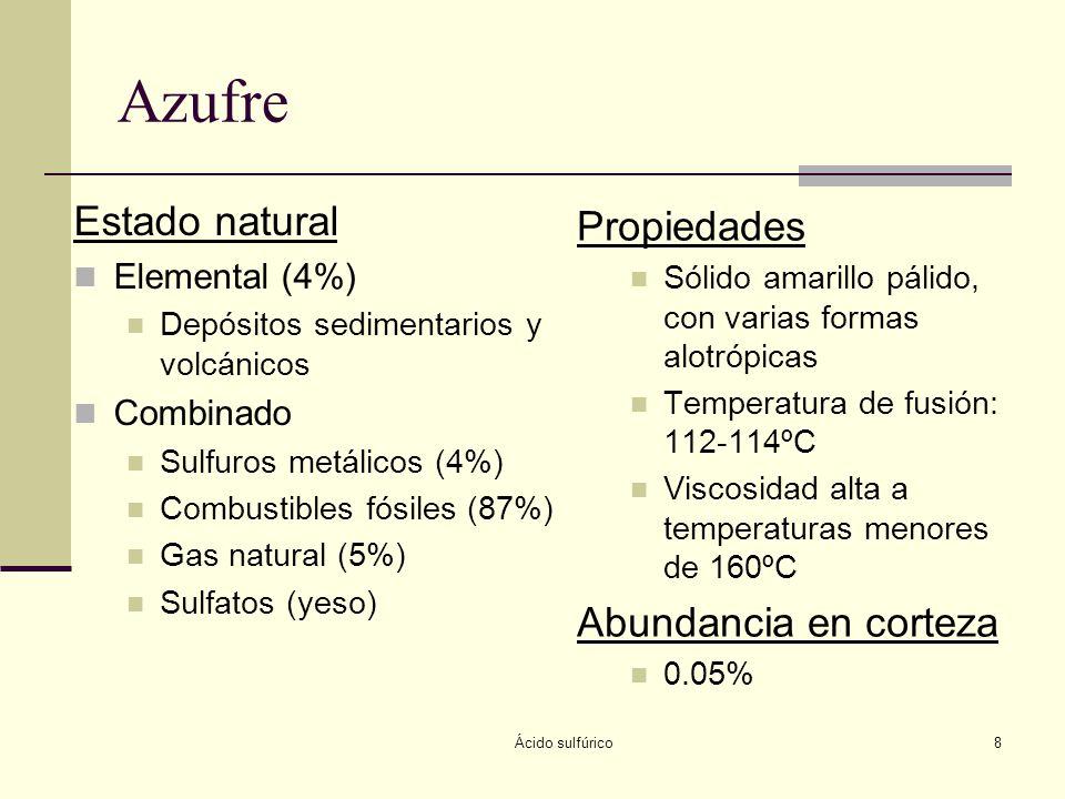 Ácido sulfúrico8 Azufre Estado natural Elemental (4%) Depósitos sedimentarios y volcánicos Combinado Sulfuros metálicos (4%) Combustibles fósiles (87%