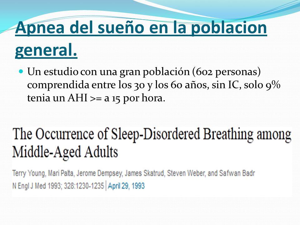 Apnea del sueño en la poblacion general. Un estudio con una gran población (602 personas) comprendida entre los 30 y los 60 años, sin IC, solo 9% teni