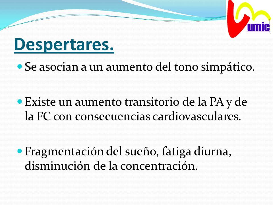 Despertares. Se asocian a un aumento del tono simpático. Existe un aumento transitorio de la PA y de la FC con consecuencias cardiovasculares. Fragmen