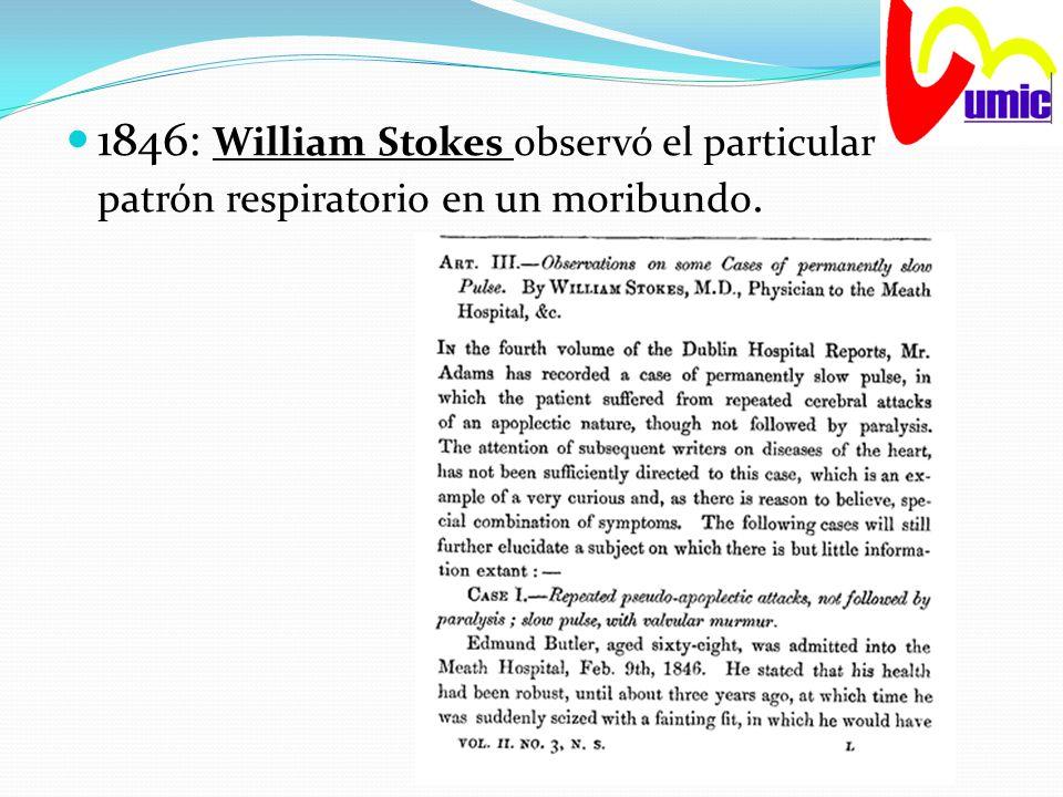 1846: William Stokes observó el particular patrón respiratorio en un moribundo.