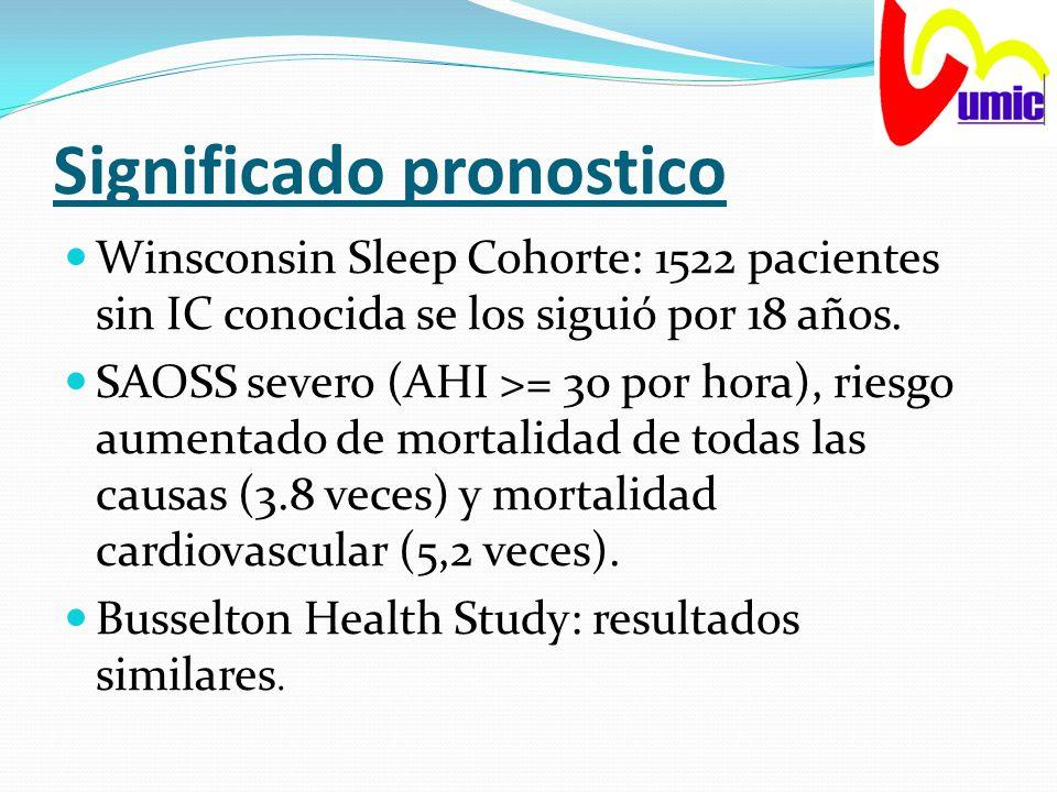 Significado pronostico Winsconsin Sleep Cohorte: 1522 pacientes sin IC conocida se los siguió por 18 años. SAOSS severo (AHI >= 30 por hora), riesgo a