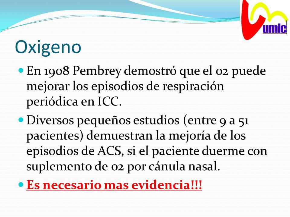 Oxigeno En 1908 Pembrey demostró que el 02 puede mejorar los episodios de respiración periódica en ICC. Diversos pequeños estudios (entre 9 a 51 pacie