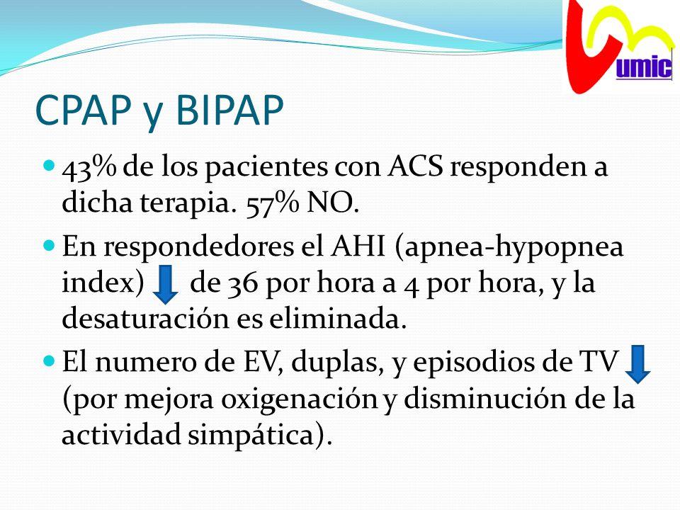 CPAP y BIPAP 43% de los pacientes con ACS responden a dicha terapia. 57% NO. En respondedores el AHI (apnea-hypopnea index) de 36 por hora a 4 por hor