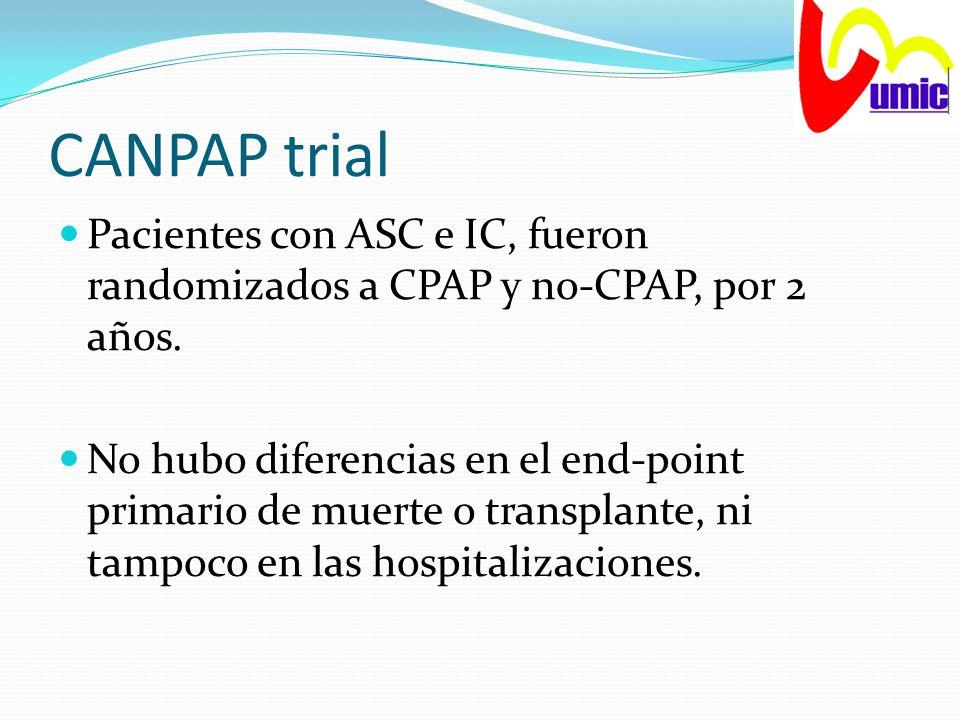 CANPAP trial Pacientes con ASC e IC, fueron randomizados a CPAP y no-CPAP, por 2 años. No hubo diferencias en el end-point primario de muerte o transp