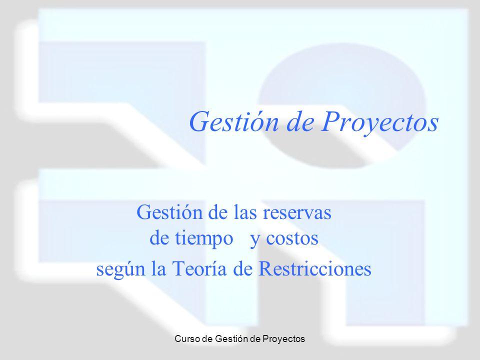 Curso de Gestión de Proyectos Gestión de Proyectos Gestión de las reservas de tiempo y costos según la Teoría de Restricciones