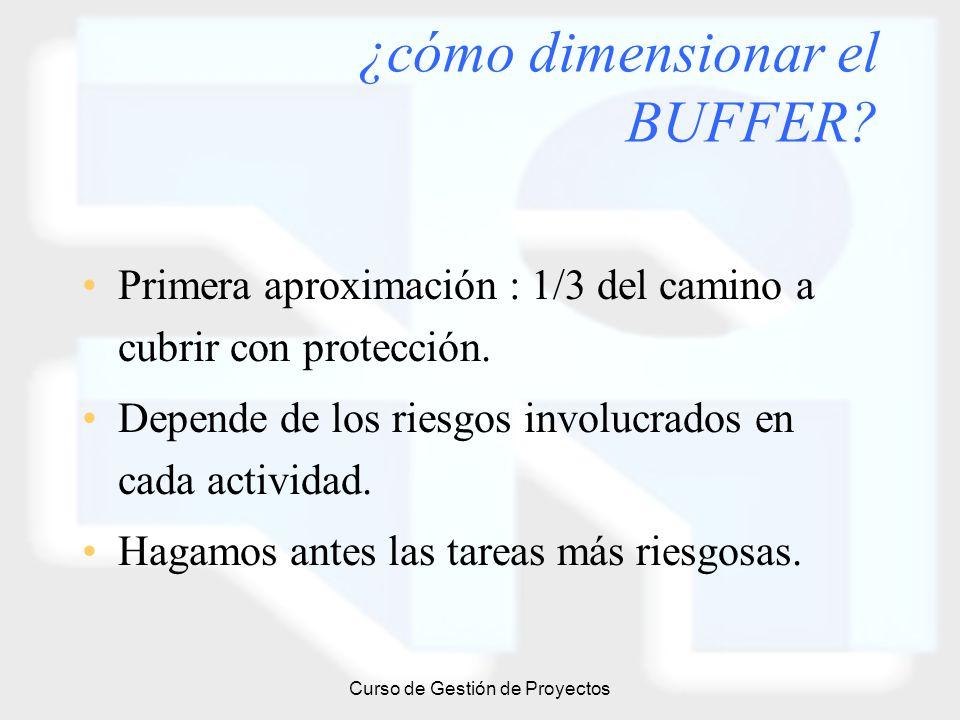 Curso de Gestión de Proyectos ¿cómo dimensionar el BUFFER? Primera aproximación : 1/3 del camino a cubrir con protección. Depende de los riesgos invol