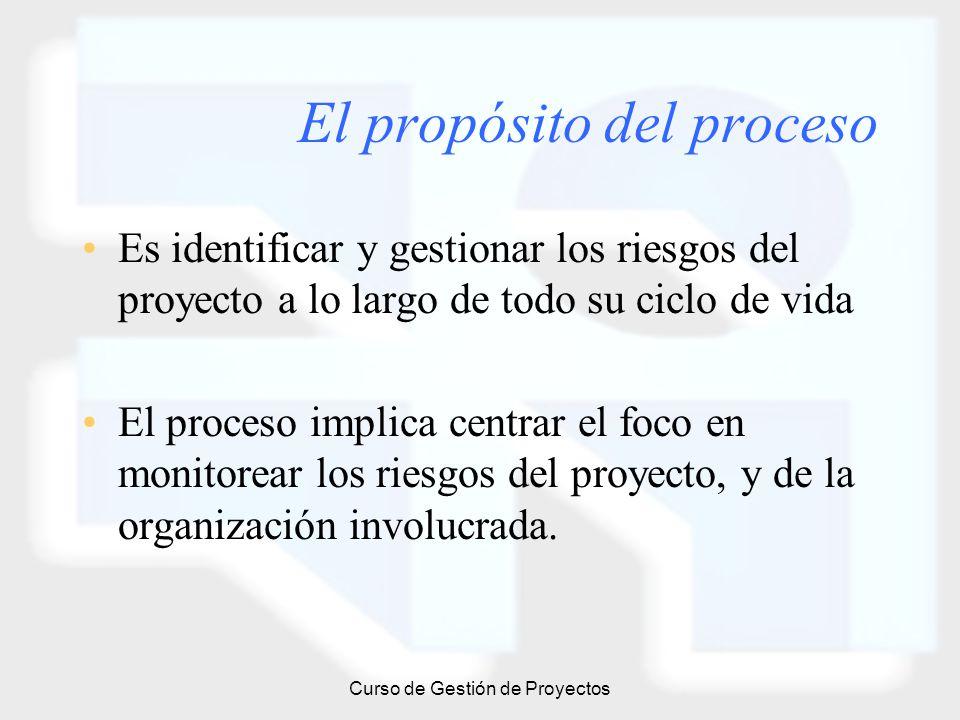 Curso de Gestión de Proyectos El propósito del proceso Es identificar y gestionar los riesgos del proyecto a lo largo de todo su ciclo de vida El proc