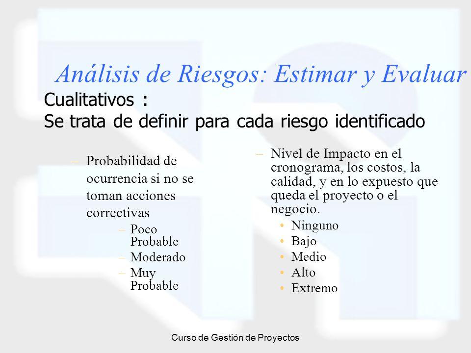 Curso de Gestión de Proyectos Análisis de Riesgos: Estimar y Evaluar –Probabilidad de ocurrencia si no se toman acciones correctivas –Poco Probable –M