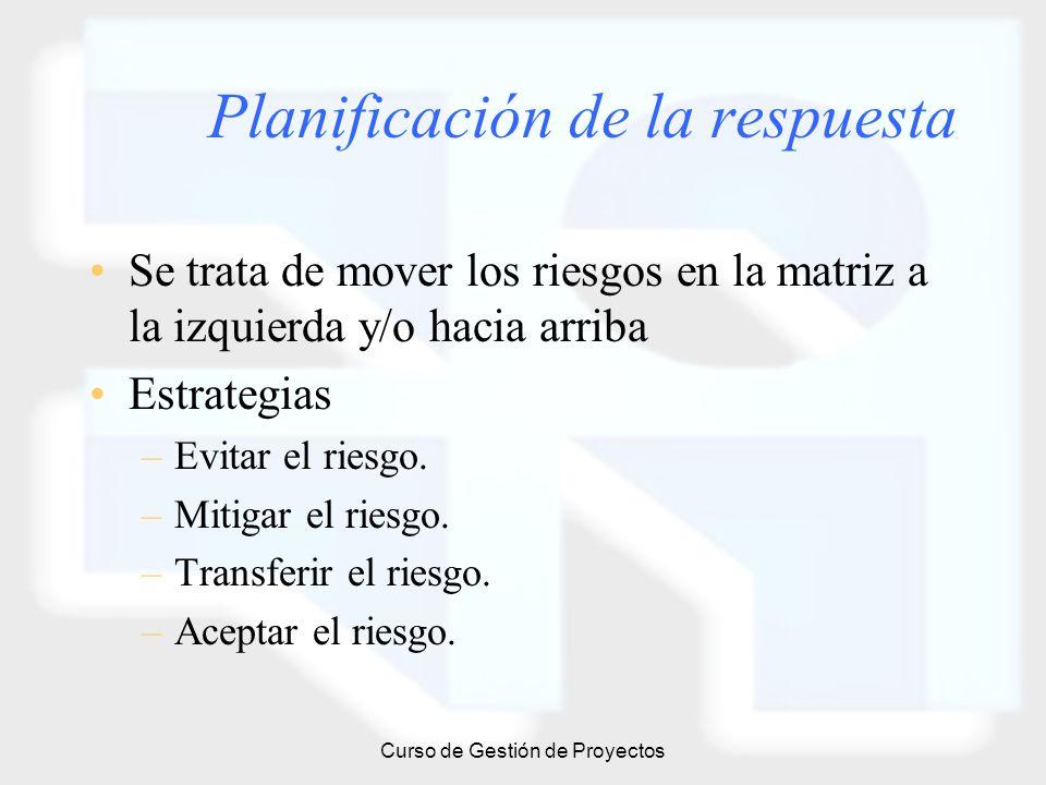 Curso de Gestión de Proyectos Planificación de la respuesta Se trata de mover los riesgos en la matriz a la izquierda y/o hacia arriba Estrategias –Ev