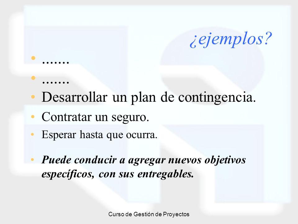 Curso de Gestión de Proyectos ¿ejemplos?....... Desarrollar un plan de contingencia. Contratar un seguro. Esperar hasta que ocurra. Puede conducir a a