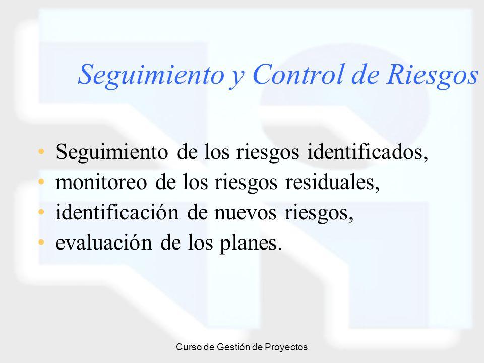 Curso de Gestión de Proyectos Seguimiento y Control de Riesgos Seguimiento de los riesgos identificados, monitoreo de los riesgos residuales, identifi