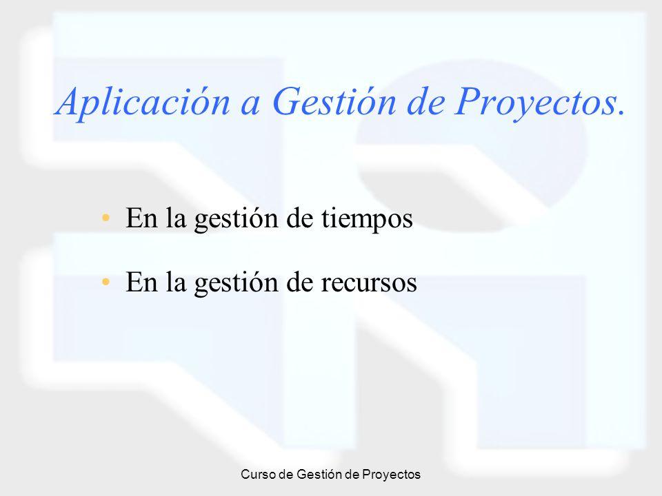 Curso de Gestión de Proyectos Aplicación a Gestión de Proyectos. En la gestión de tiempos En la gestión de recursos