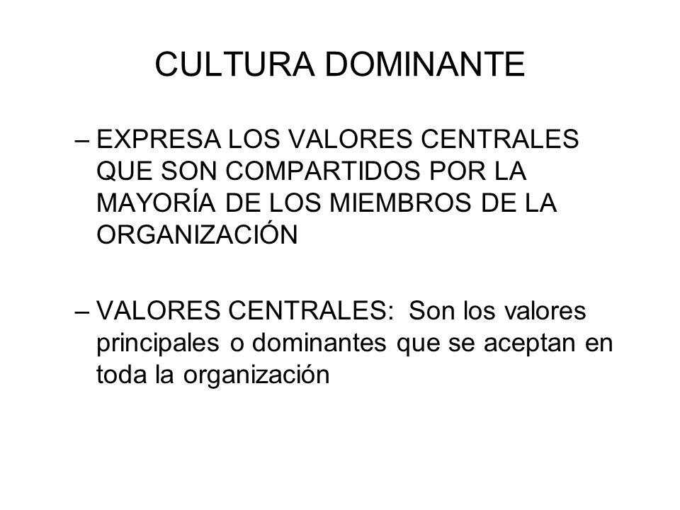 SUBCULTURAS –MINICULTURAS DENTRO DE UNA ORGANIZACIÓN, QUE GENERALMENTE SE DEFINEN POR LAS DESIGNACIONES DE DEPARTAMENTOS Y POR LA SEPARACIÓN GEOGRÁFICA –INCLUIRÁ LOS VALORES CENTRALES DE LA CULTURA DOMINANTE MAS LOS VALORES ADICIONALES ESPECÍFICOS DE LOS MIEMBROS DEL DEPARTAMENTO
