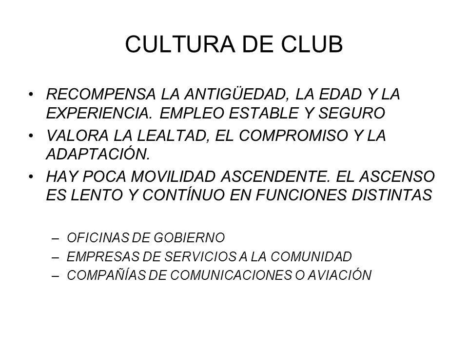 CULTURA DE CLUB RECOMPENSA LA ANTIGÜEDAD, LA EDAD Y LA EXPERIENCIA. EMPLEO ESTABLE Y SEGURO VALORA LA LEALTAD, EL COMPROMISO Y LA ADAPTACIÓN. HAY POCA